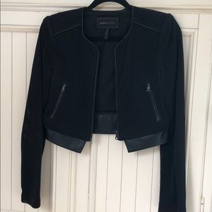BCBG MaxAzria cropped black jacket w faux leather
